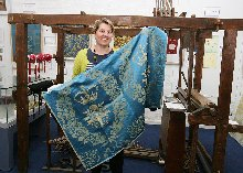 kate with coronation textile