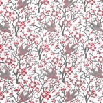 Birds & Blossom - white and grey - low res