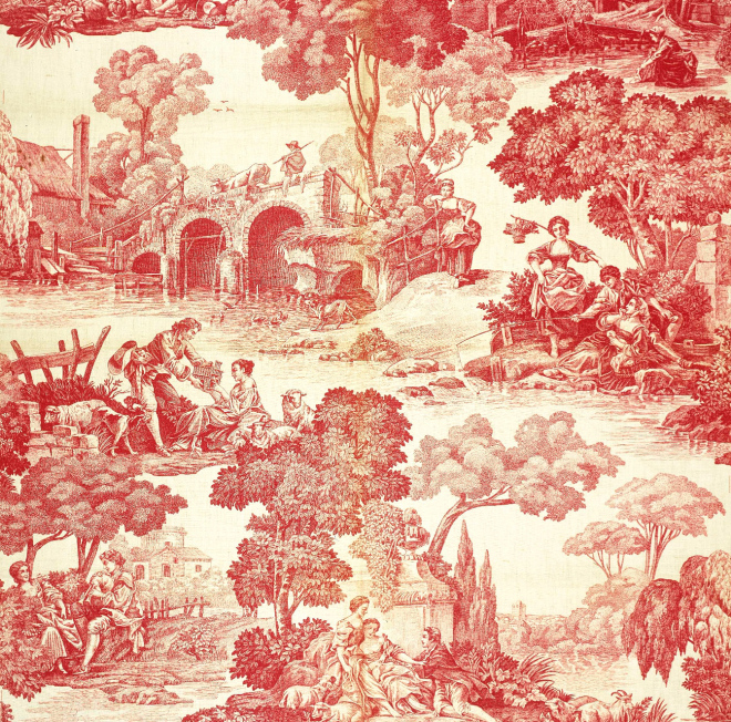2 - Doc 823 - detailed toile de Jouy showing pastoral scenes